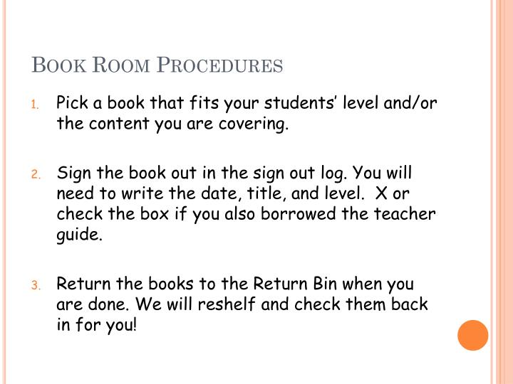 Book Room Procedures