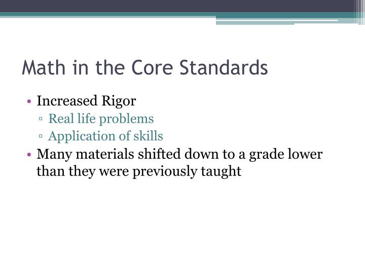 Math in the Core Standards