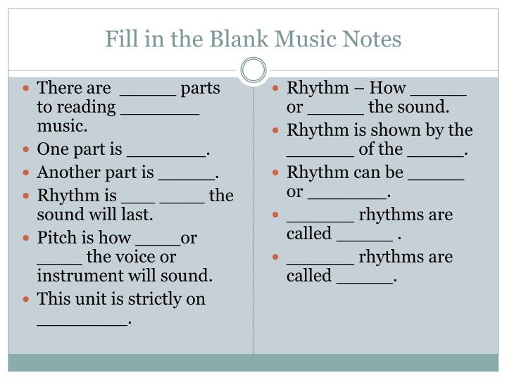 Fill in the blank music notes