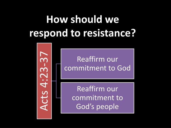 How should we respond to resistance?