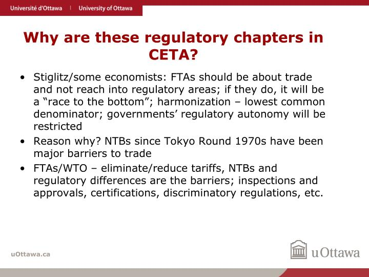 Why are these regulatory chapters in CETA?
