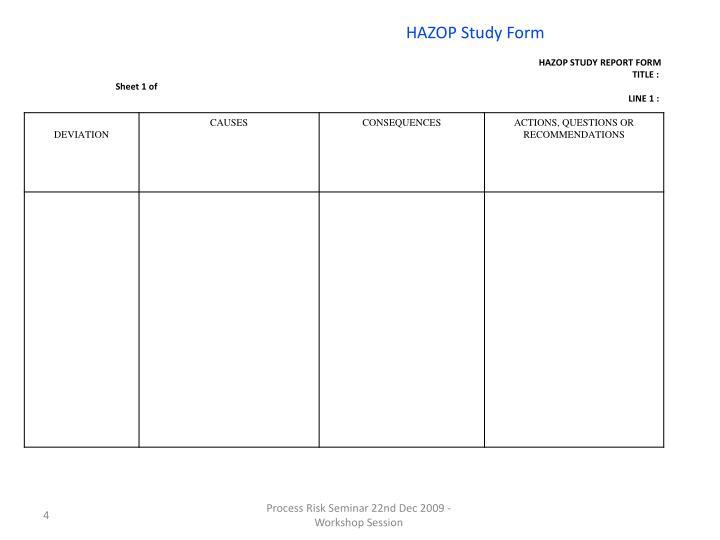 Hazard & Operability Analysis (HAZOP) 1 Overview
