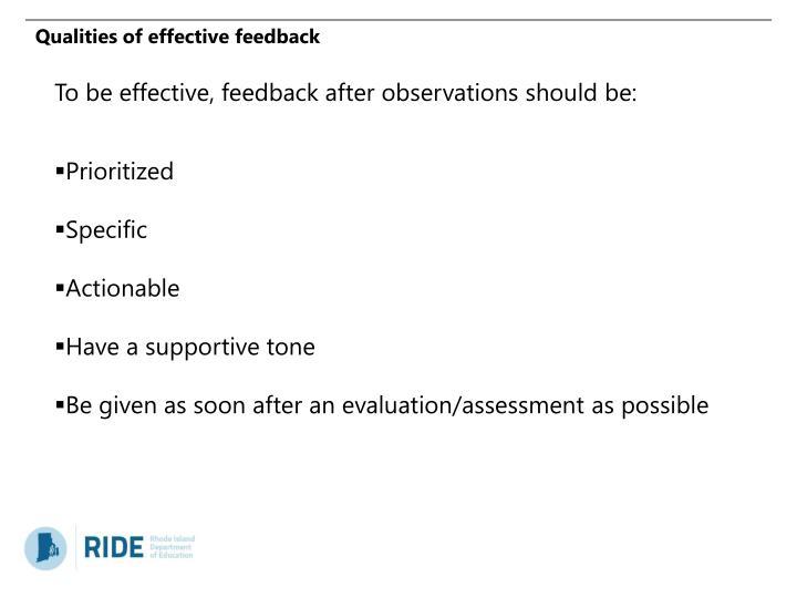 Qualities of effective feedback