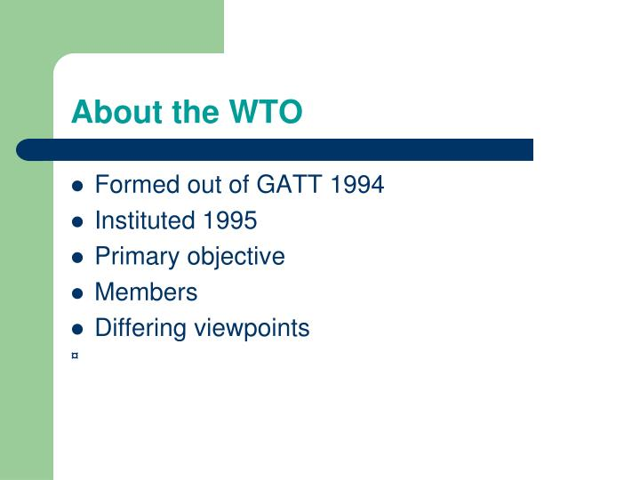 About the WTO