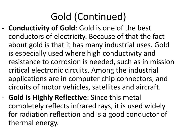 Gold (Continued)