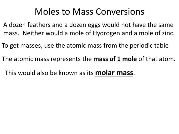 Moles to Mass Conversions