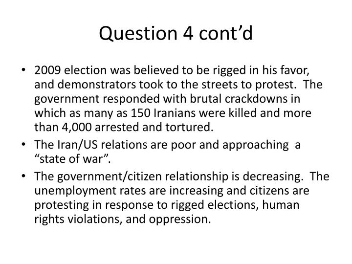 Question 4 cont'd
