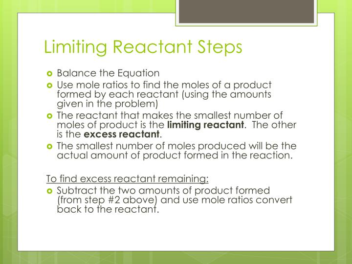 Limiting Reactant Steps
