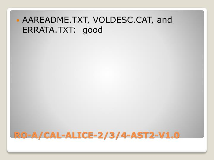 AAREADME.TXT, VOLDESC.CAT, and ERRATA.TXT:  good