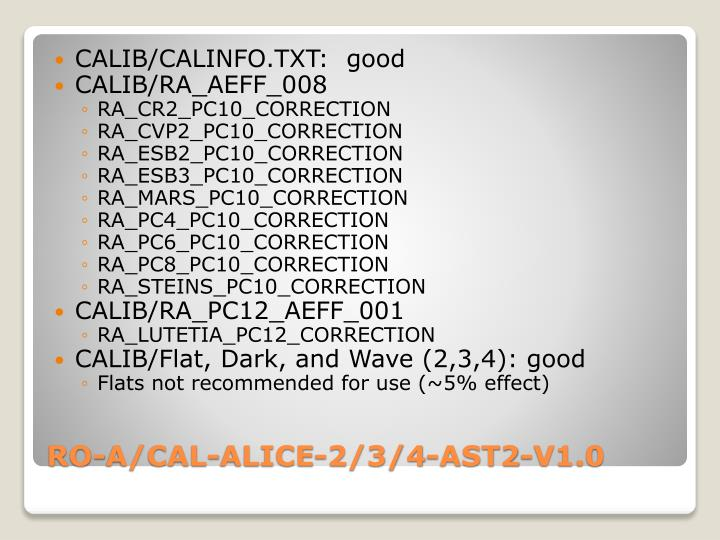 CALIB/CALINFO.TXT:  good
