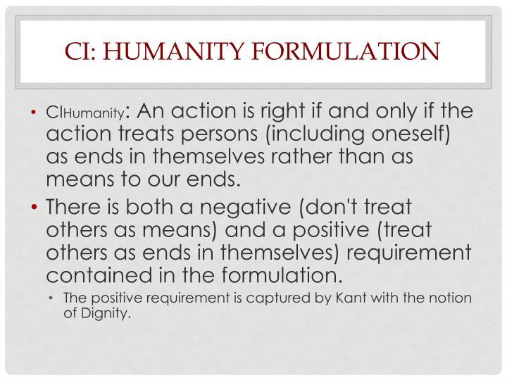 CI: Humanity Formulation
