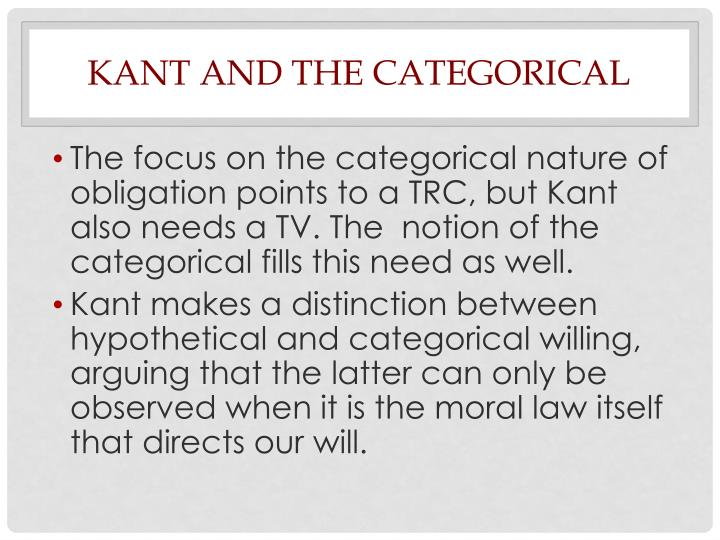 Kant and the Categorical