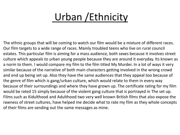 Urban /Ethnicity