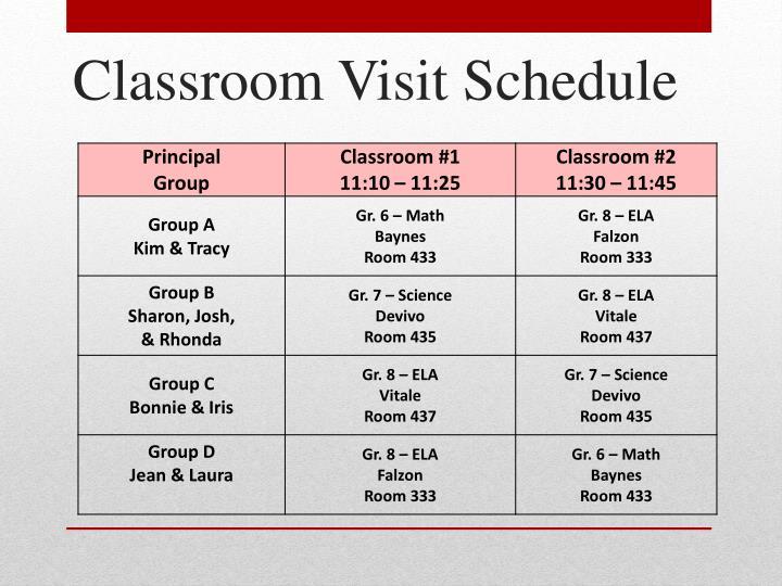 Classroom Visit Schedule