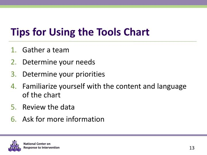 Tips for Using the Tools Chart