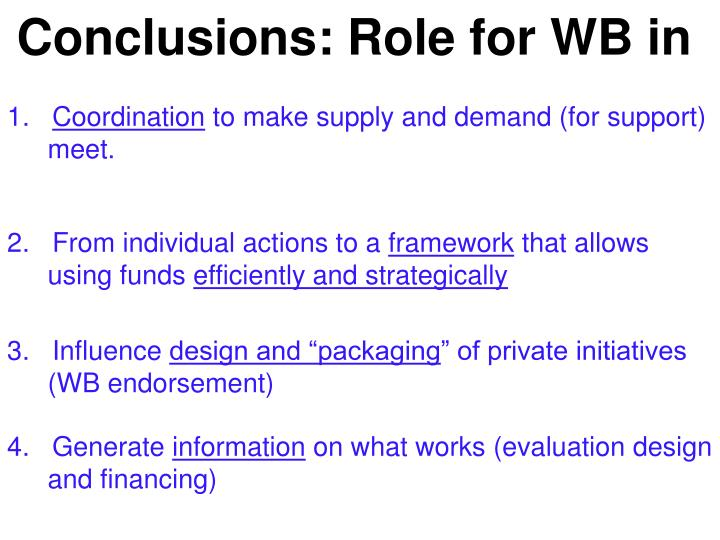 Conclusions: Role for WB in