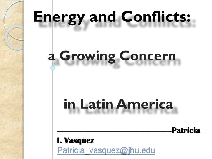 Energy and Conflicts:
