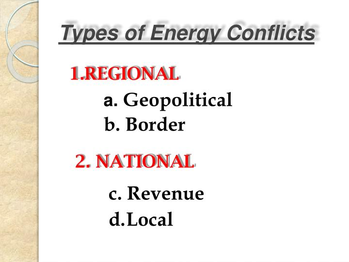 Types of energy conflicts