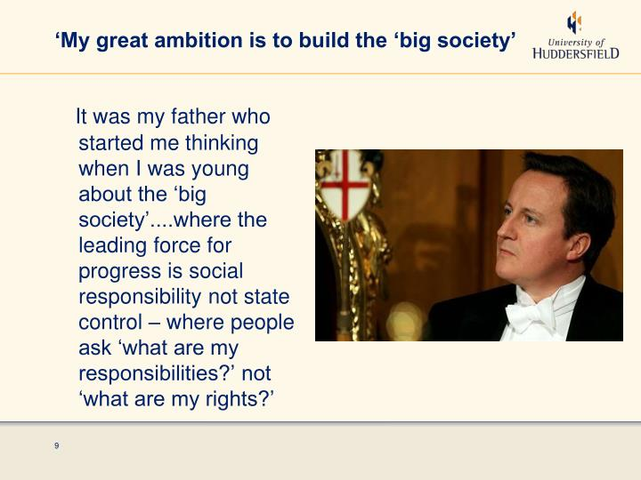 'My great ambition is to build the 'big society'