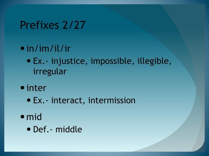 Prefixes 2/27