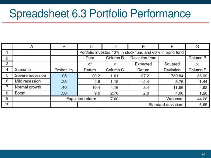 Spreadsheet 6.3 Portfolio Performance