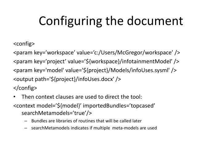 Configuring the document