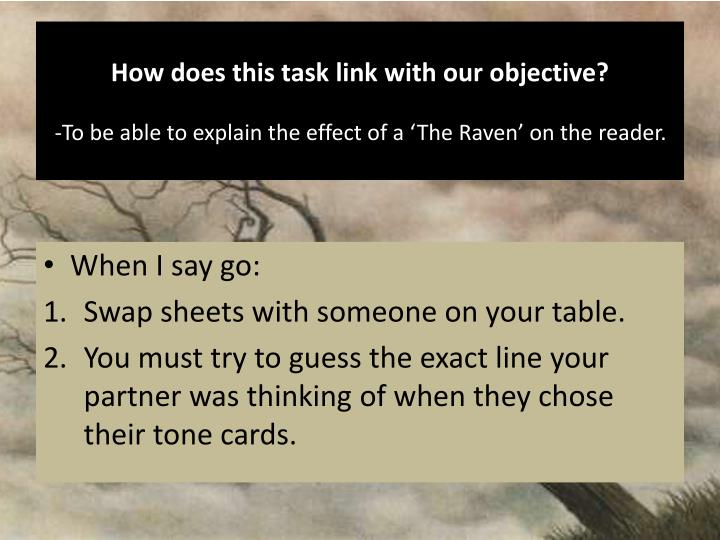 How does this task link with our objective?