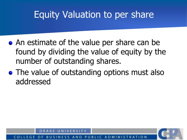 Equity Valuation to per share