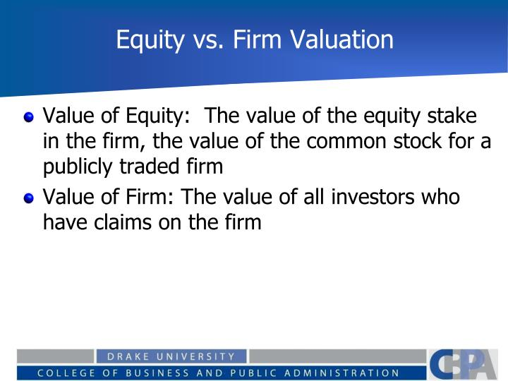 Equity vs firm valuation