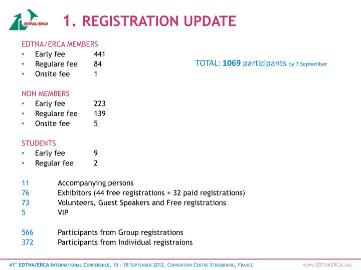 1 registration update