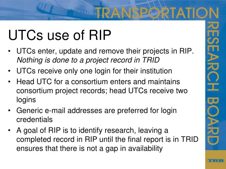 UTCs use of RIP