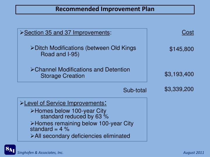Recommended Improvement Plan