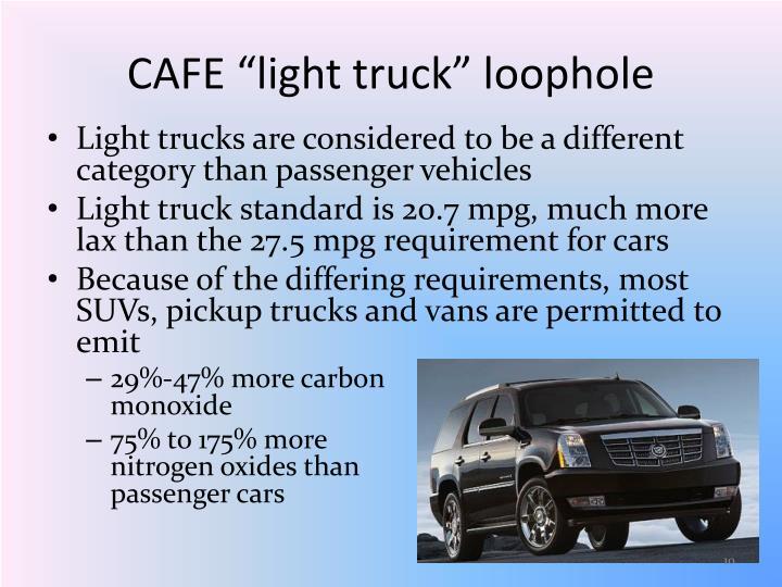 "CAFE ""light truck"" loophole"