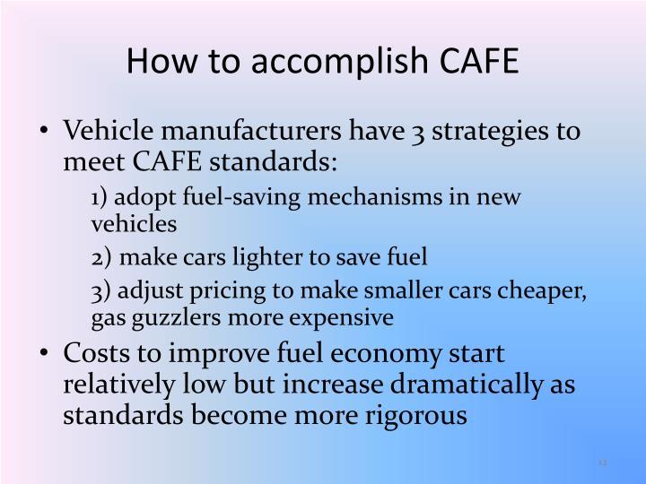 How to accomplish CAFE