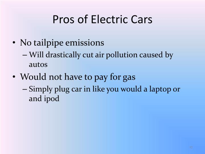 Pros of Electric Cars