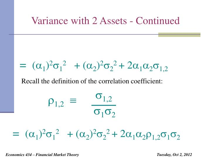 Variance with 2 Assets - Continued