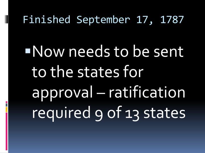 Finished September 17, 1787