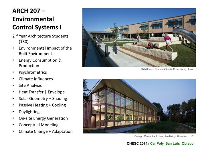 ARCH 207 – Environmental Control Systems I