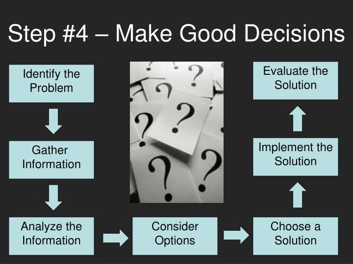 Step #4 – Make Good Decisions