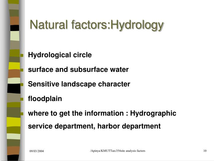 Natural factors:Hydrology