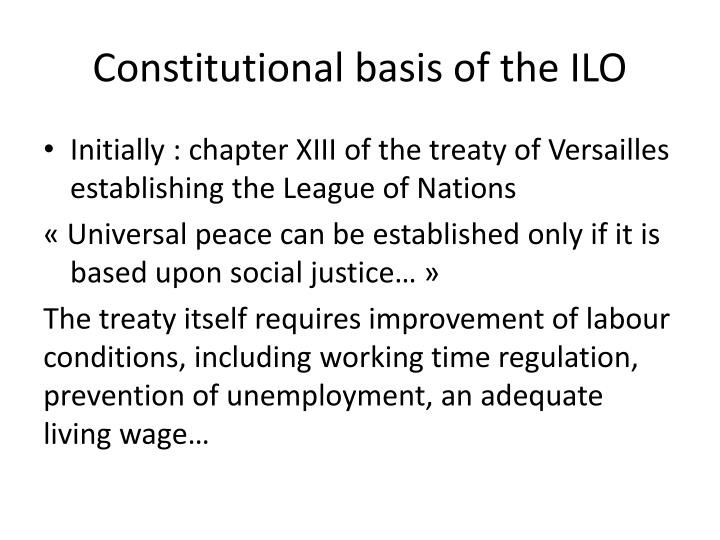 Constitutional basis of the ILO