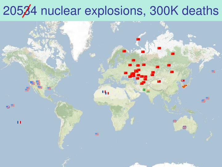 20534 nuclear explosions, 300K deaths