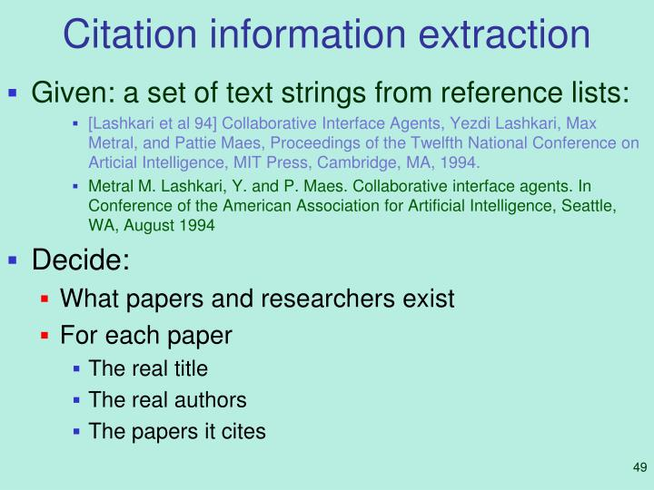 Citation information extraction