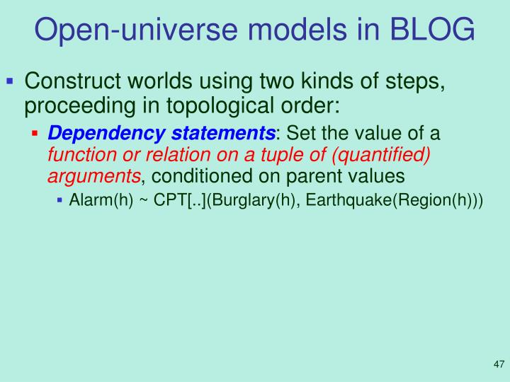 Open-universe models in BLOG