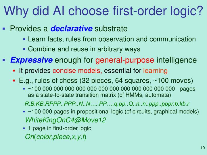 Why did AI choose first-order logic?