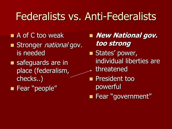 federalist vs antifederalist essay The greatest ad campaign in history the greatest ad campaign in history the debate of federalists vs anti federalists is one that is still in question to.