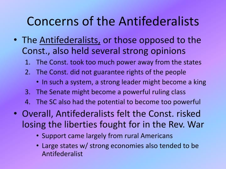 Concerns of the Antifederalists