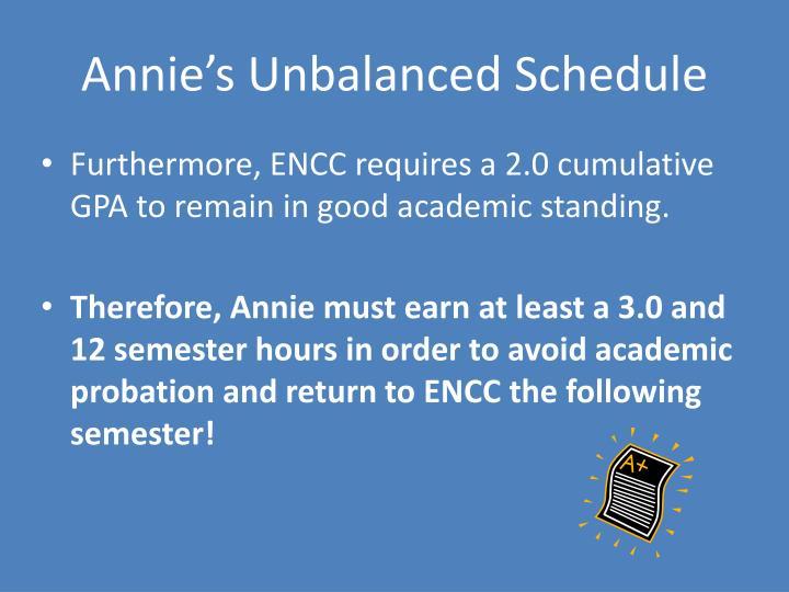 Annie's Unbalanced Schedule