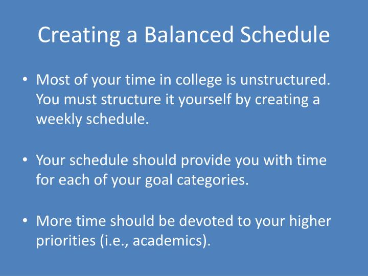 Creating a Balanced Schedule