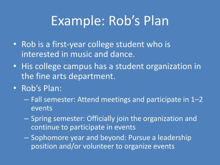 Example: Rob's Plan